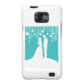 Aguamarina y siluetas blancas del boda de novia y  galaxy s2 fundas