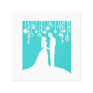 Aguamarina y siluetas blancas del boda de novia y  impresión en tela