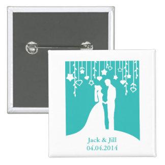 Aguamarina y siluetas blancas del boda de novia y  pins