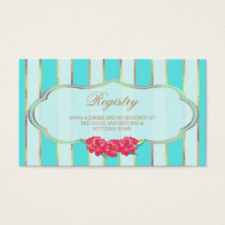 Aguamarina y tarjeta del registro del boda del oro tarjetas de visita