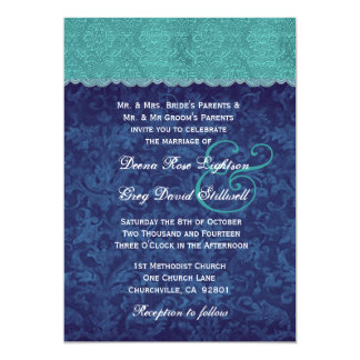 Aguamarina y tono del damasco dos de los azules invitación 12,7 x 17,8 cm