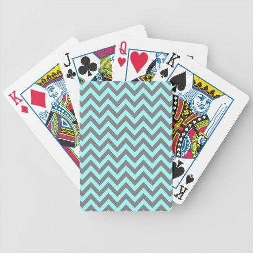 Aguamarina y zigzag gris 2 barajas de cartas