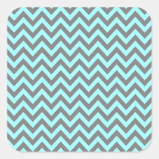 Aguamarina y zigzag gris 2 pegatina cuadrada