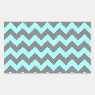 Aguamarina y zigzag gris pegatina rectangular