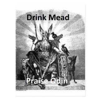 Aguamiel de la bebida - alabanza Odin Postales
