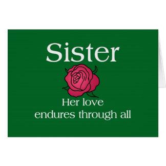 Aguantar a la hermana del amor tarjeta de felicitación