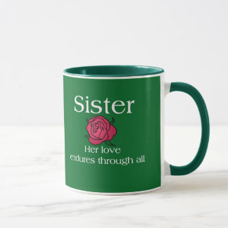 Aguantar a la hermana del amor taza