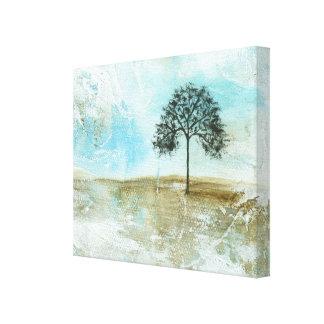 Aguantaré arte solitario del árbol del paisaje lienzo envuelto para galerias
