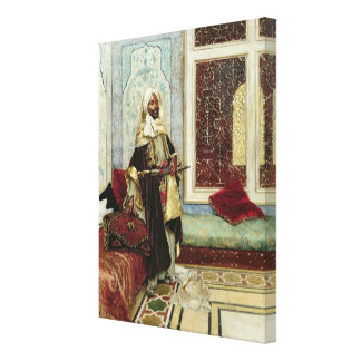 Aguardando a una audiencia (aceite en el panel) lienzo envuelto para galerías