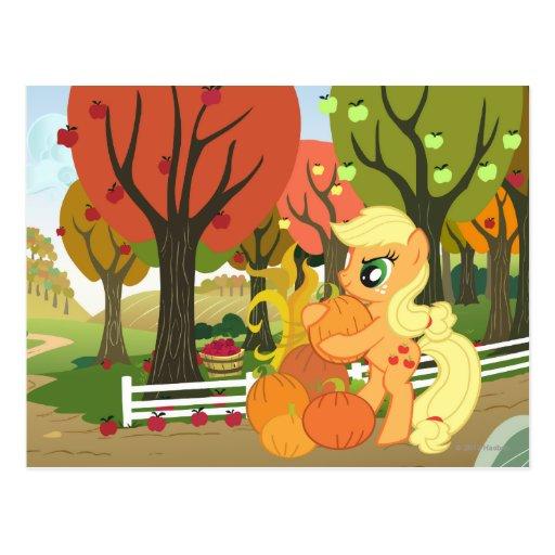Aguardiente de manzana con las calabazas tarjeta postal