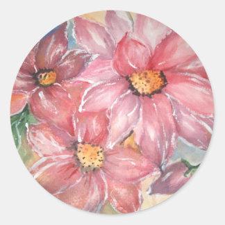 aguarela Flores Pegatina Redonda