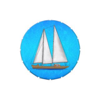 Aguas azules del velero jarrones de caramelos