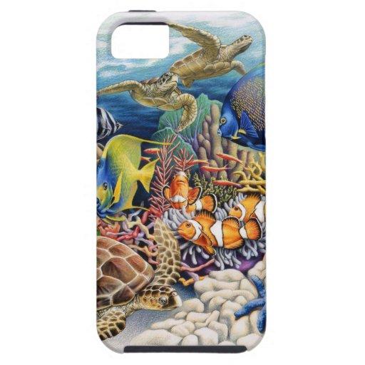 Aguas coralinas con los pescados tropicales iPhone 5 Case-Mate cobertura