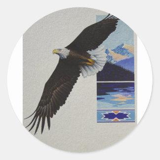 Aguas de Eagle calvo Pegatina Redonda