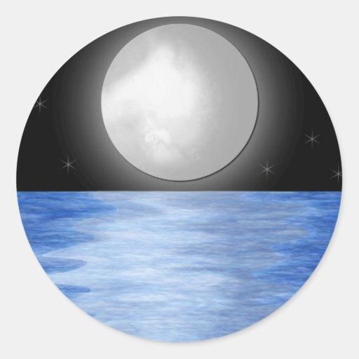 Aguas de la luna pegatina redonda