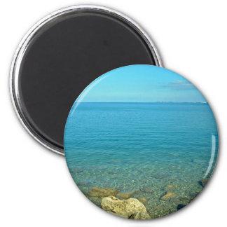Aguas del verde azul de Bermudas Imán Redondo 5 Cm