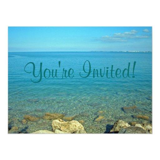 """Aguas del verde azul de Bermudas Invitación 6.5"""" X 8.75"""""""
