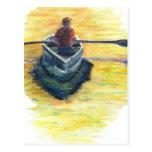 Aguas tranquilas para pescar - lápiz de la acuarel tarjetas postales