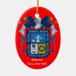 Aguascalientes*, ornamento del navidad de México Adorno Navideño Ovalado De Cerámica