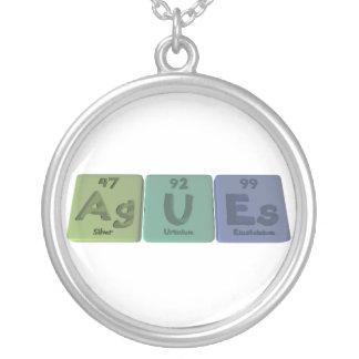 Agues-Ag-U-Es-Silver-Uranium-Einsteinium Round Pendant Necklace