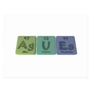 Agues-Ag-U-Es-Silver-Uranium-Einsteinium Postcard