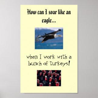 águila altísima, pavos, cómo puedo elevarme como… póster