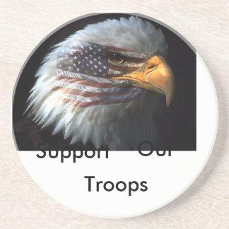 águila americana, ayuda, nuestra, tropas posavasos para bebidas