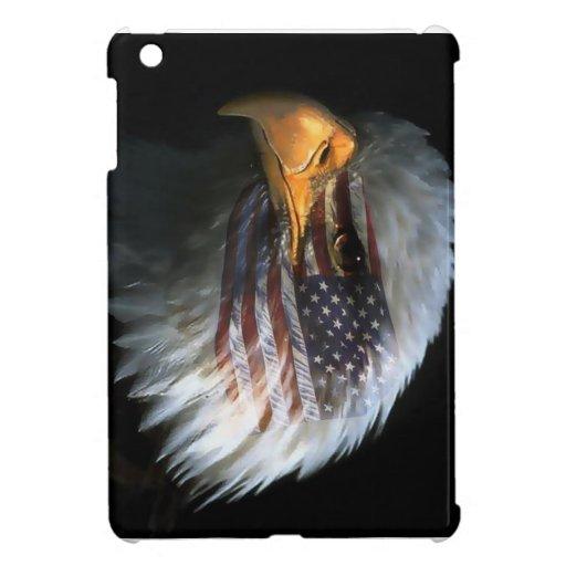 Águila calva americana con la bandera americana iPad mini cobertura