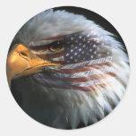 Águila calva americana con los pegatinas de la ban pegatina redonda