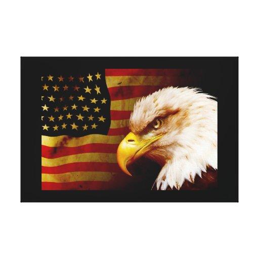 Águila calva con la bandera impresion de lienzo
