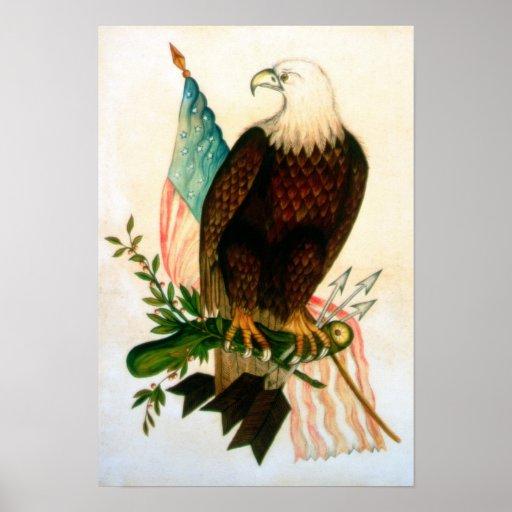 Águila calva con la bandera póster