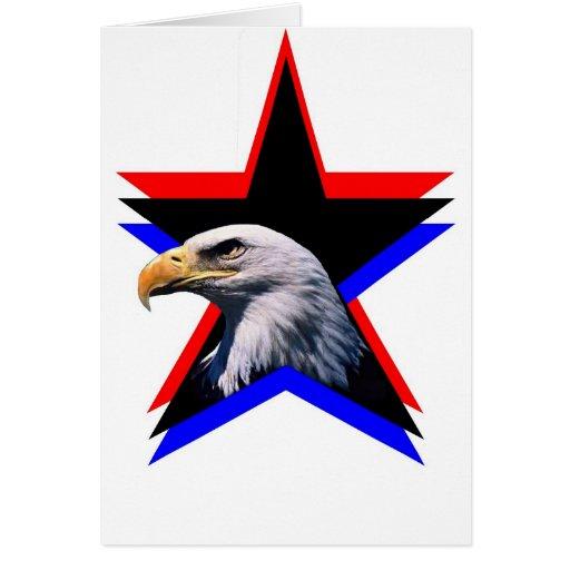 Águila calva y la estrella tres tarjeta de felicitación