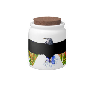 Águila calva y mezcla digital del color platos para caramelos