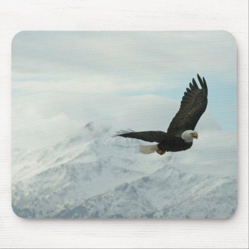 Águila calva y montañas tapetes de ratón