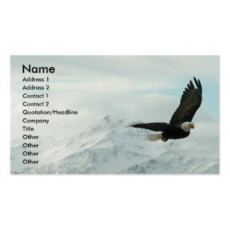 Águila calva y montañas tarjetas de negocios