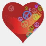 Águila de la paz pegatina en forma de corazón