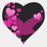 Águila de los corazones de la paz pegatina en forma de corazón