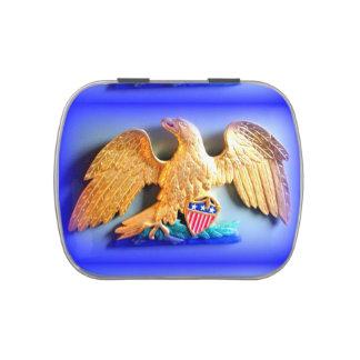 águila del oro en la lata azul del caramelo jarrones de caramelos