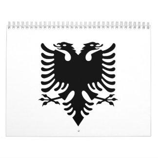 Águila dirigida doble albanesa calendario de pared