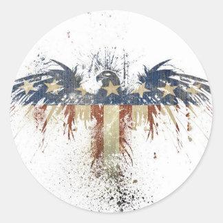 Águila patriótica, US/USA, bandera TRISTE Pegatina Redonda