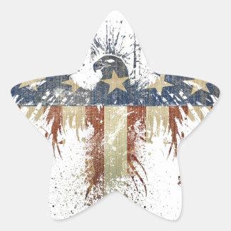 Águila patriótica, US/USA, bandera TRISTE Pegatina En Forma De Estrella