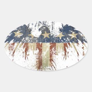 Águila patriótica, US/USA, bandera TRISTE Pegatina Ovalada