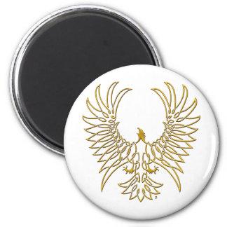 águila que sube, oro imán redondo 5 cm