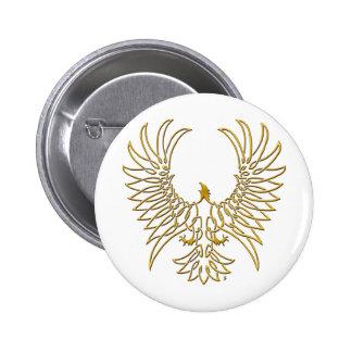 águila que sube, oro pin redondo de 2 pulgadas