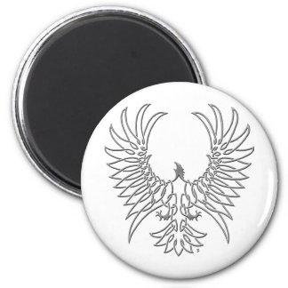 águila que sube, plata imán redondo 5 cm