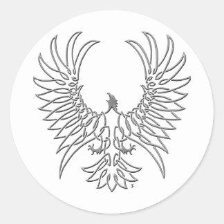 águila que sube, plata pegatina redonda