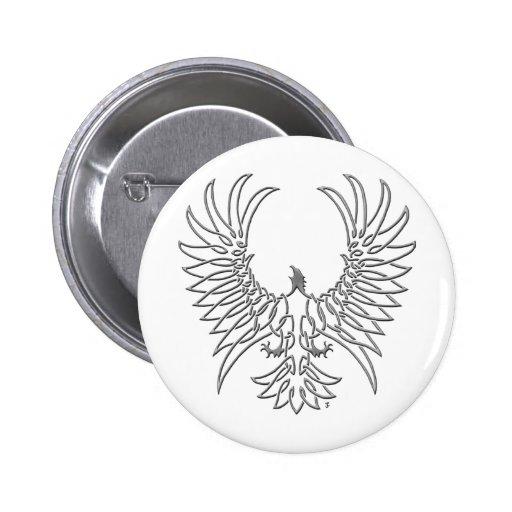 águila que sube, plata pin redondo de 2 pulgadas