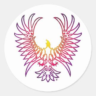 águila que sube, sunglow pegatina redonda