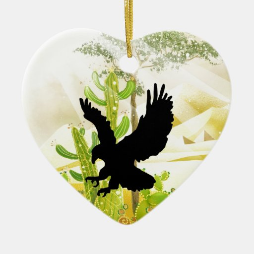 Águila sólida del aterrizaje y del éxito adorno navideño de cerámica en forma de corazón
