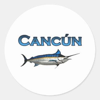 Aguja azul de Cancun Pegatina Redonda